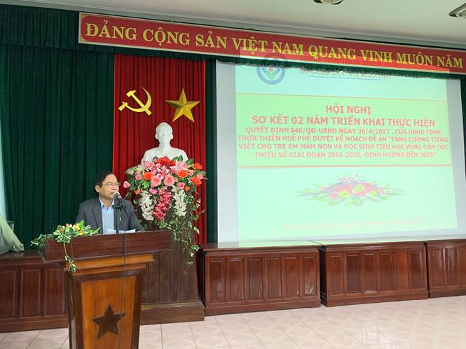 The  two-year preliminary Conference  of  implementation of Decision 840/QD-UBND of the province People's Committee approved   implementation Plan of the Project enhancing Vietnamese language for ethnic minority children.