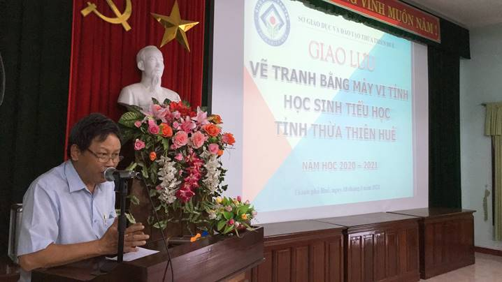 An exchange of drawing pictures on computer for primary students in Thua Thien Hue province, school year 2020-2021